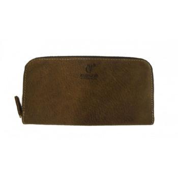 Leather Zipper Long Wallet